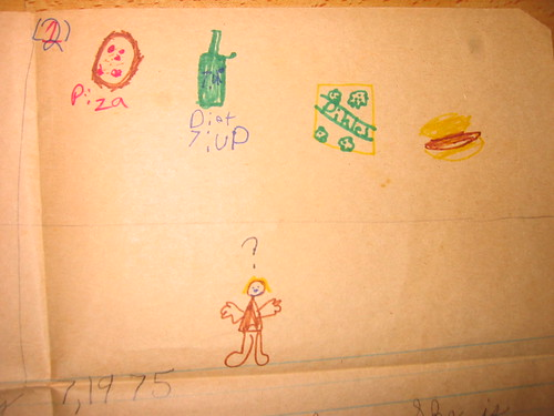 3) Piza, Diet 7-up; pikles, a hot dog  Standard pregnant lady diet. 4) Im drawing a blank