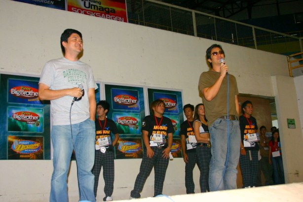 Pinoy Dream Academys Teacher Monet Silvestre and Pinoy Big Brother Director Laurenti Dyogi greet the 10,000 young hopefuls at the GenSan Gym.