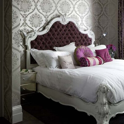 Purple White and Grey Bedroom