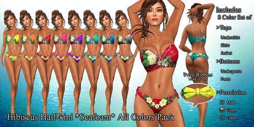 Hibiscus Half-kini *Seafoam* All Colors