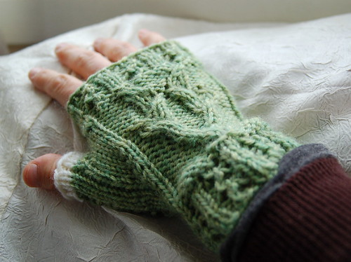 fingerless mitt with goat cable