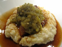 prelude to staplehouse - pork belly, riverview farms grits, pickled green tomato relish