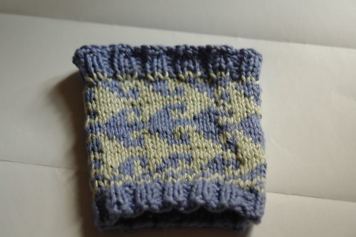 Blue and pale green wrist warmer sampler
