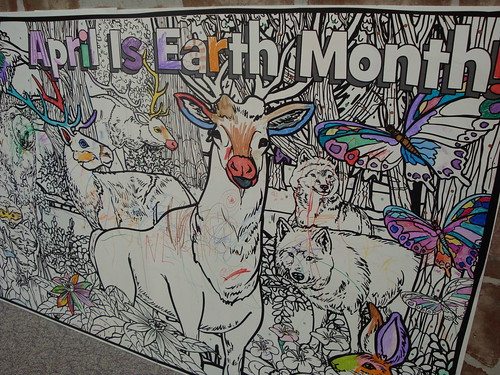 Earth Month colouring wall