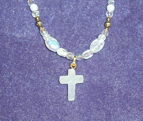 Glowing White Crystal Cross Necklace