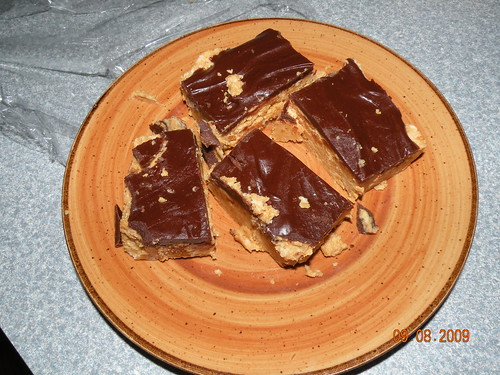 A plate of peanut butter chocolate bars...a gift from my neighbor after I helped her with her coupons.