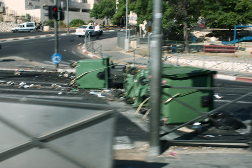 Burned Garbage Bins, Golda Meir Blvd, Jerusalem
