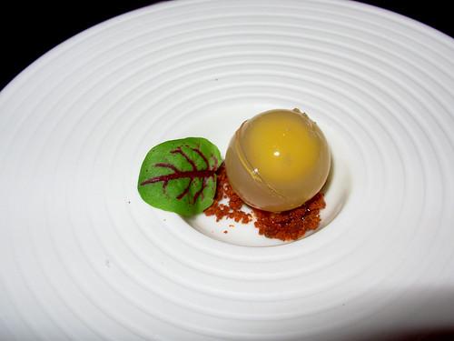 Egg custard in gelee, chorizo powder