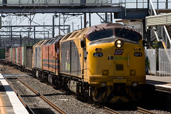 Typical of the changing face of QRNational Intermodal trains - CLP11/CLF1/CLP13 lead 7BM7 south through Adamstown.