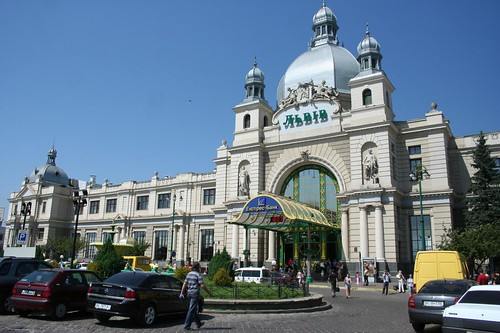 Central train station in Lviv Ukraine