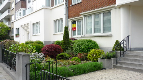 Belgian flag outside window