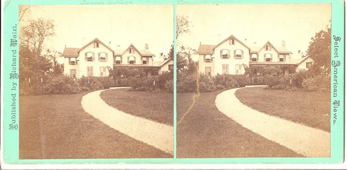Recently donated stereocard of the Cottage shows summer features not seen in any other photographs to date.