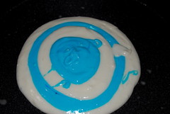 I added white batter then blue.  It settles into concentric circles.