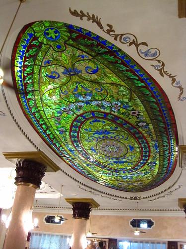 the lobby ceiling.