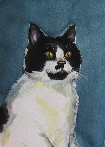 Commissioned cat portrait in ink and gouache.