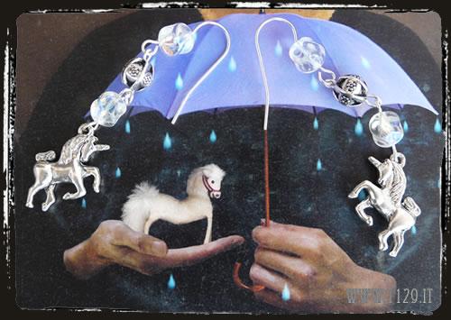 Orecchini bianchi unicorno - White earrings IHUNICO