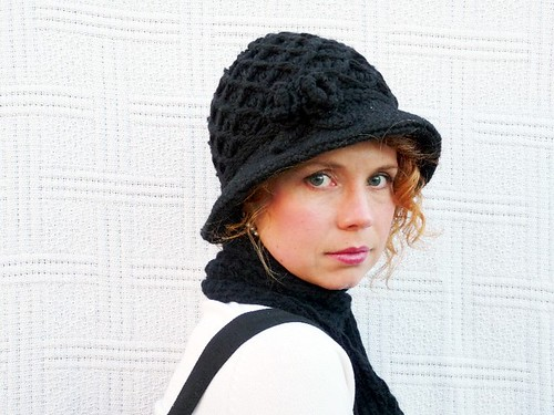 Hand Crochet Black Hat by NATALIA PHOTOS.
