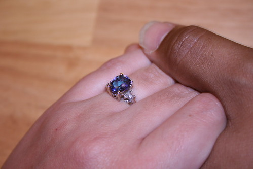 The ring that is way too small yet managed to fit my finger for an evening before going to the store for resizing
