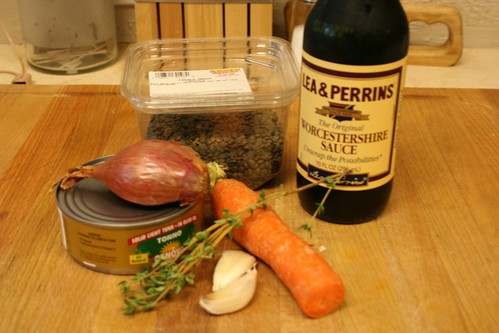 Ingredients for Lentils with Tuna