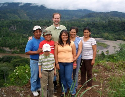 Manship in 2008 visited with family and friends of his Connecticut parishioners, in the province of Morena Santiago, in the rainforest regions of Ecuador. (Photo: Courtesy J. Manship)