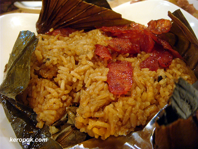 Glutinous Rice with Chinese Sausage Wrapped in Lotus Leaf