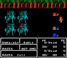 Los héroes al principio del juego, luchando una batalla que no pueden ganar.