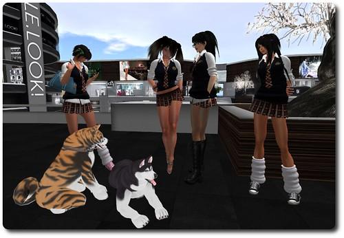 Yumi, Kasumi, Lan, Spooky, & Dogs (Vix, & Scratch) in the mall