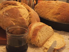 Home-baked bread & coffee