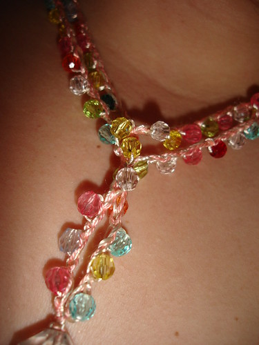 Plastic beads + embroidery floss = cute necklace (detail)