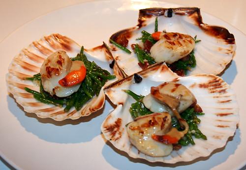 Scallops with samphire & pancetta