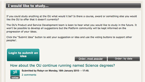 OU Platform - I would like to study
