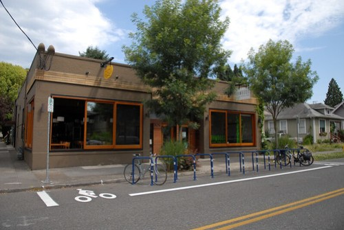 A bike corral outside a business in Portland. Photo by BikePortland.org via Flickr.
