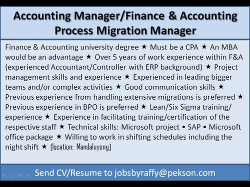 Accounting Manager / Finance and Accounting Process Migration Manager