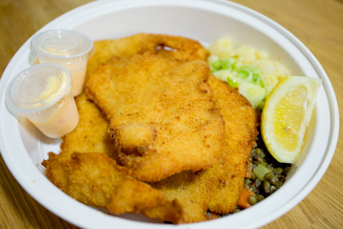 Pork schnitzel w/ potato salad and lentil salad
