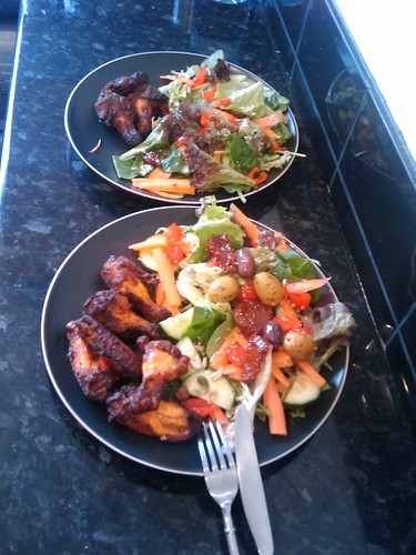 Hot n Spicy chicken wings plus salad with goodies