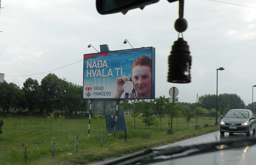 Najda Higl Is Featured on a Billboard in her Hometown of Pančevo, Serbia