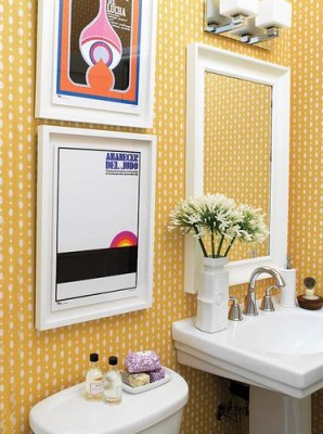 Wallpapered bath Emily Walker's home