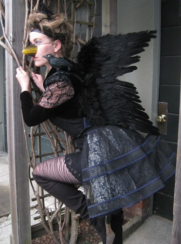 """Quoth the raven: Nevermore..."" Fashion-savvy Addysen Trumper shows off the outfit she will be sporting this Halloween. She made this elegant raven costume entirely out of clothing and accessories she already owned.  Photo by Melissa Stihl/Foghorn"