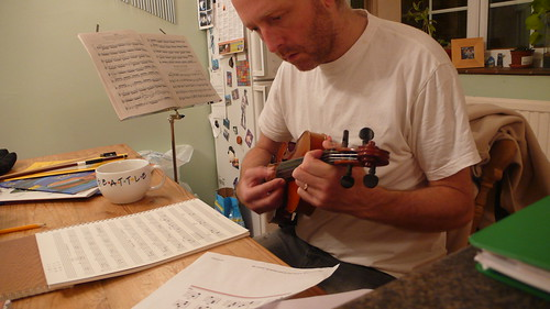 Strumming the violin - mandolin chords or roll my own? by dumbledad on flickr