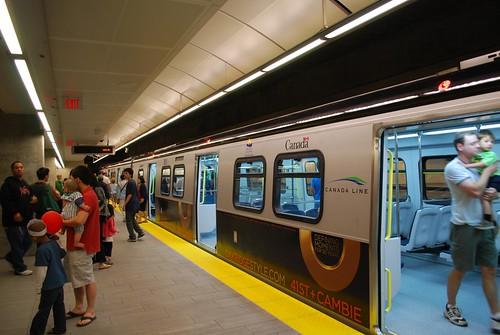 Canada Line train at Oakridge Station