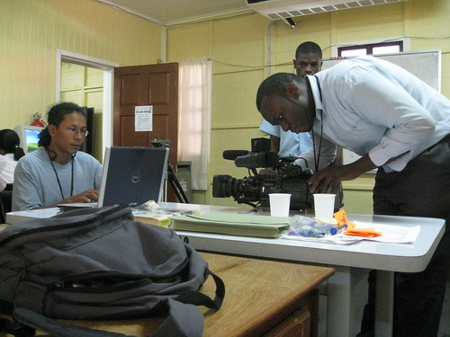 Film crew in the classroom