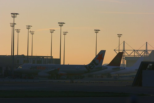 A320s on the Airbus Delivery Centre at dawn