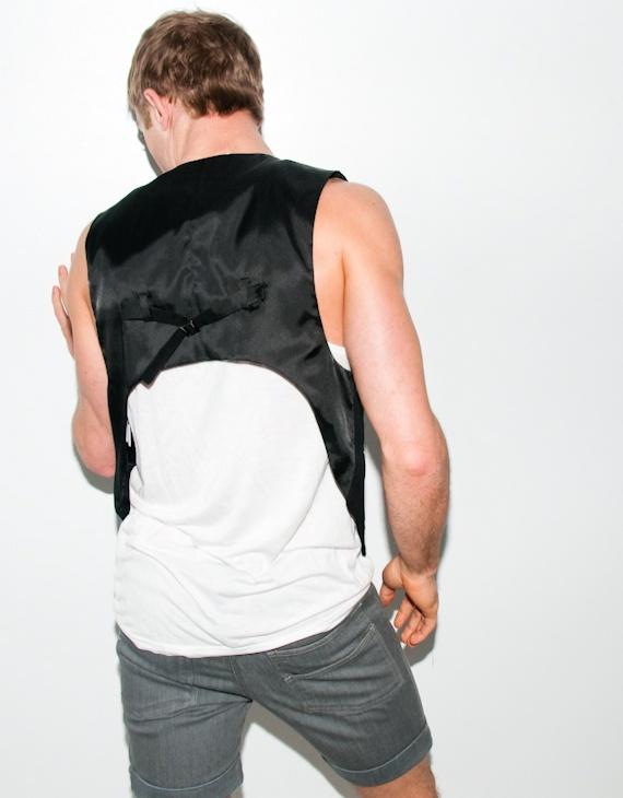 black high back vest