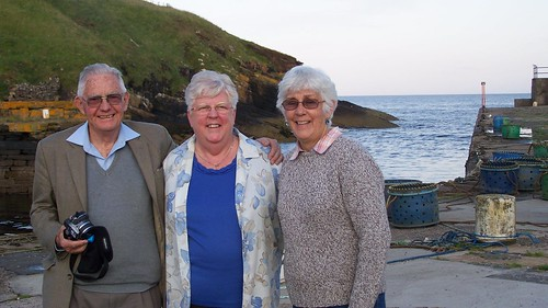 The Hewsons at Dunbeath Harbour with Janet