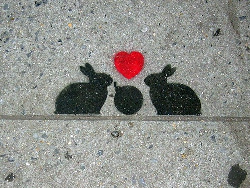 Cryptic sidewalk bunnies in the East Village.