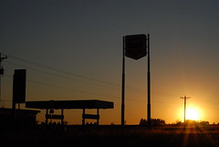 A Texas roadside sunset on Route 66
