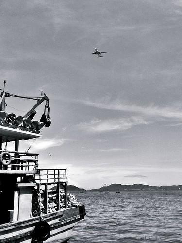 Aeroplane flies by the fisheries wharf