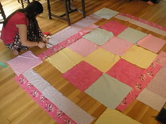 Sophia Laying Out Her Quilt