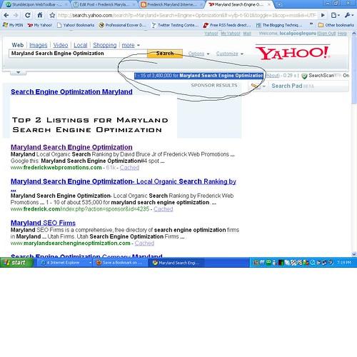 Maryland SEO in Yahoo 08-07-2009