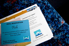 The meal reservation card - exchange this at the buffet for a hot meal